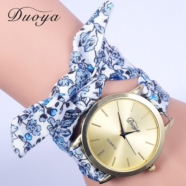 Famous Brand Watch Women Fashion Casual Fabric Flower Bracelet Watch Women Dress Watch Female Girl Quartz Wristwatch 2018 #D