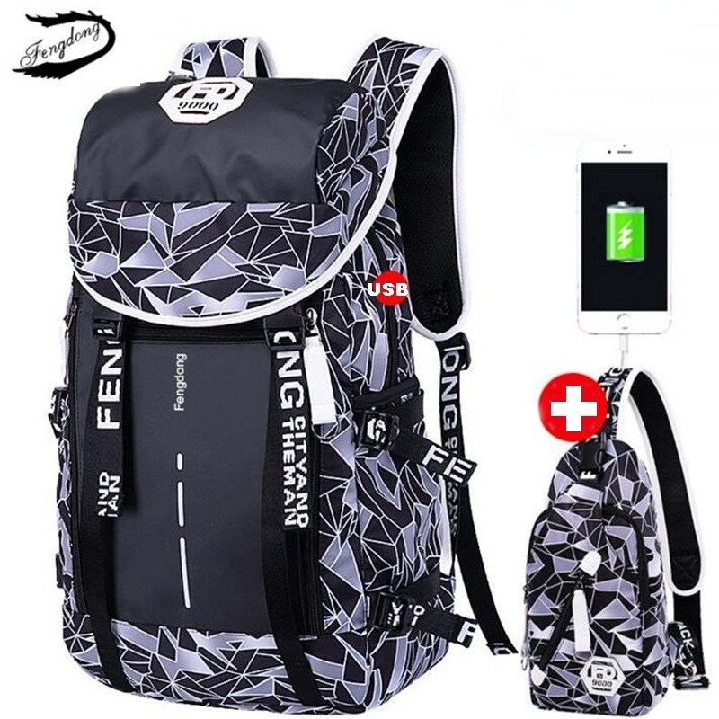 Fengdong Men Backpack Anti Theft Travel USB Laptop Backpack School Bag For Teenage Students Male Big Waterproof Rucksack Mochila