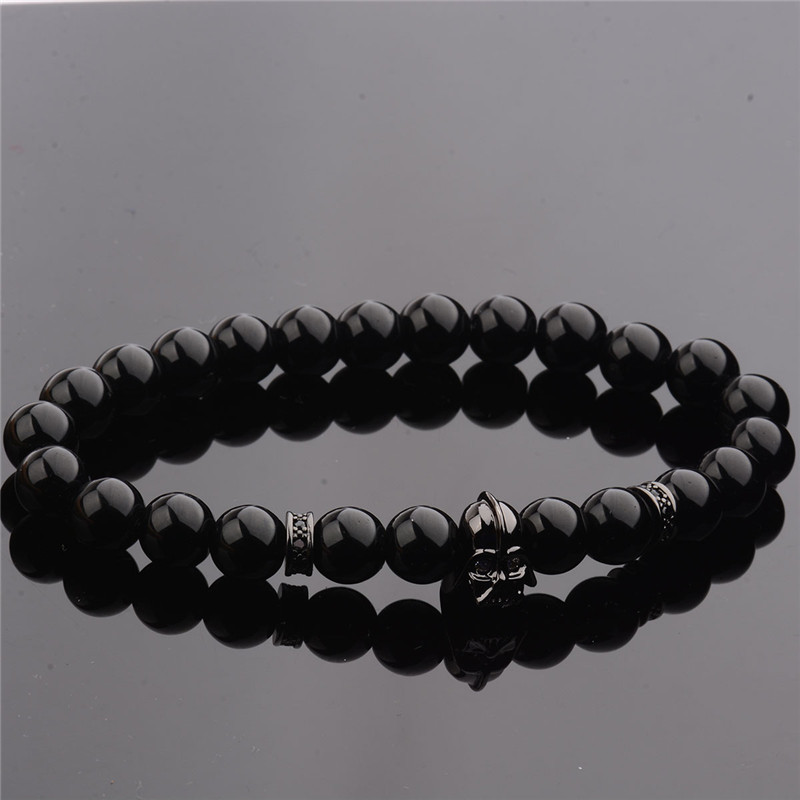 DOUVEI 17 New Charm Mens Star Wars Darth Vader CZ Beaded Bracelets 8mm Bright Black Lava Stone AB1012 6