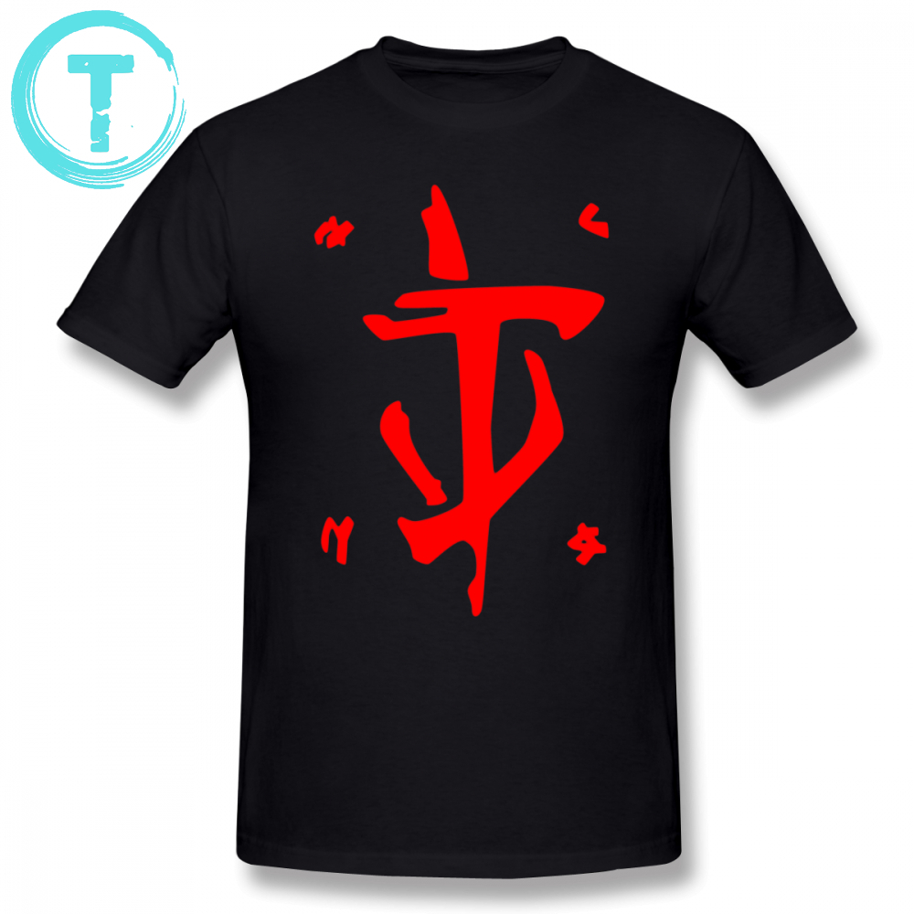 Doom T Shirt Mark Of The Doom Slayer Red T-Shirt Print 100 Percent Cotton Tee Shirt Male 6xl Short Sleeve Cute Beach Tshirt