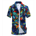 Camisa de manga corta floral de flores de poliéster impreso mens camisas hawaianas camisas sociales slim fit casual de lujo brand clothing