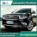Estilo do carro caso Da Lâmpada de Cabeça para Toyota Highlander 2012 Faróis de LED DRL Daytime Running Luz Bi-Xenon HID Acessórios