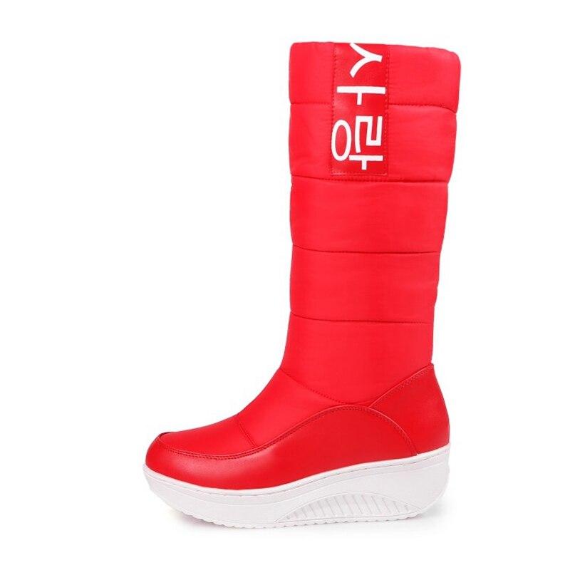 Pu Zapatos Mujer 2018 Abajo Mujeres Cuero Cuñas Reave Botas Red Piel Super Caliente Femeninos Cat Nieve Nueva Plataforma De A806 Zn5q87TPw5
