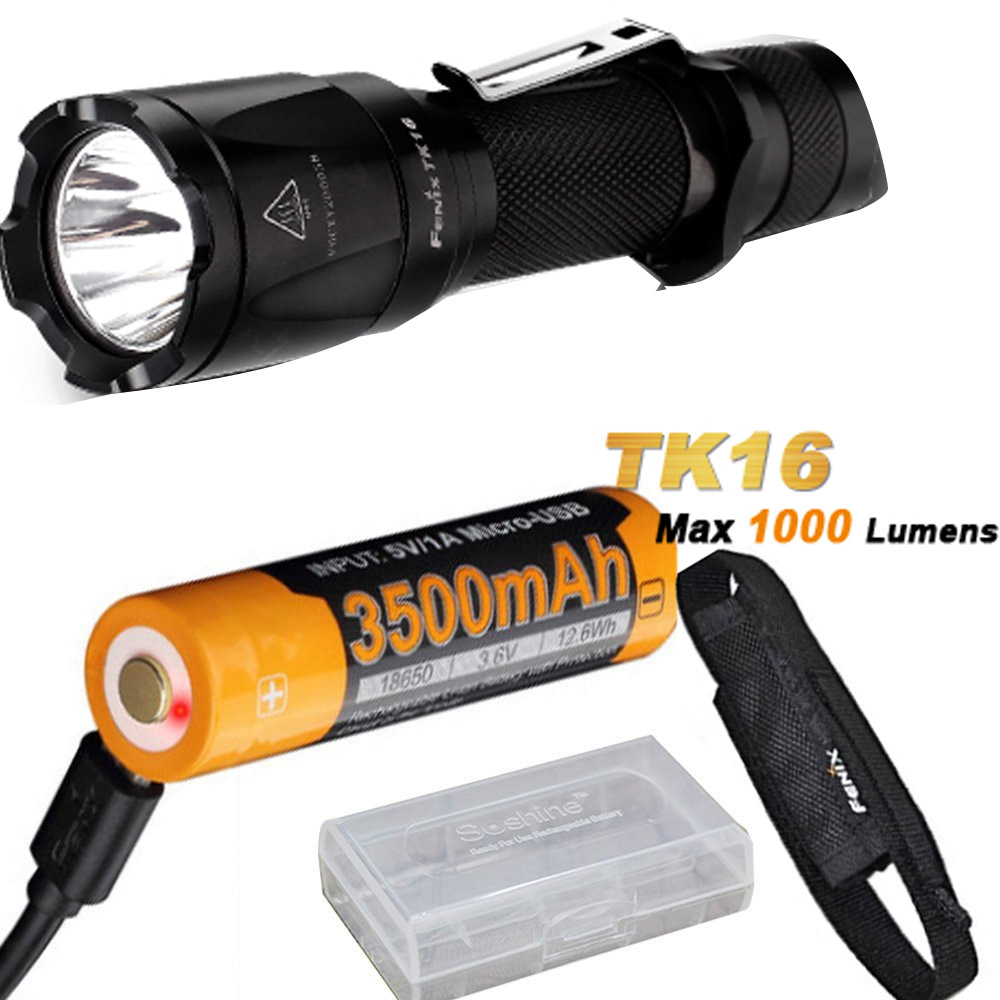 Fenix TK16 1000 Lumens Cree XM-L2 (U2) LED tactical Flashlight with ARB-L18-3500U Battery ,Charge Cable,battery case