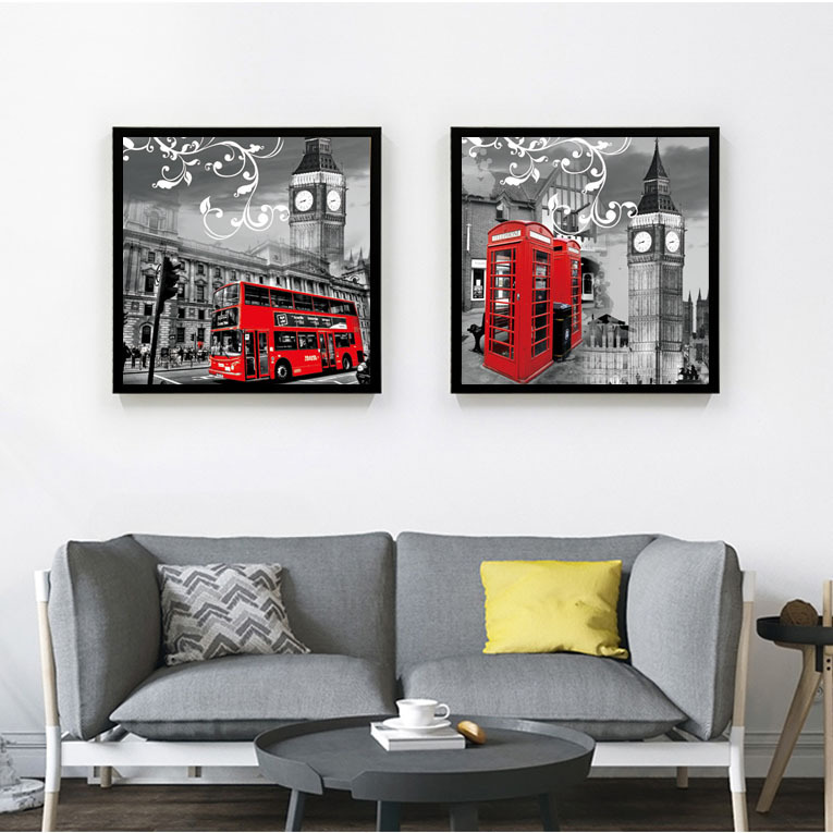 Vintage Style Scenery London Black And White Painting