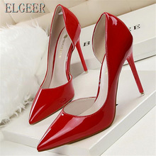 New Women High-heeled shoes Fashion High-heeled patent leather shallow pointed hollow cut sexy high-heeled high-heeled shoes цена 2017