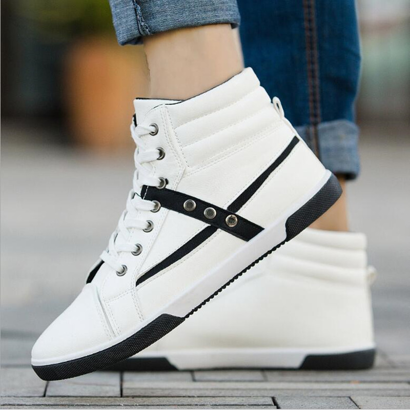 2018 new large size high help PU shoes tide two-color shoes Europe - Men's Shoes - Photo 1