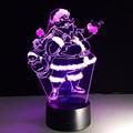 Lámpara de Mesa USB 3D Santa Claus de Colores de Luz LED Lámpara de Noche Dormitorio Luces Único