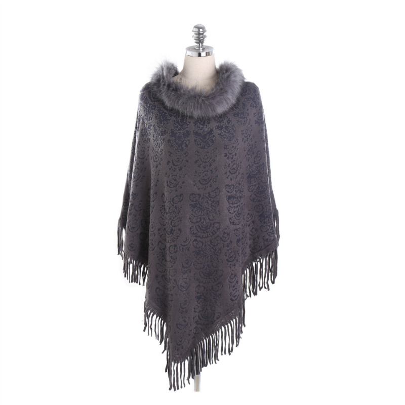 2018 New Winter Pashmina Women's Cashmere Ponchos and Capes Fashion Design Stoles Ladies Fur Collar Shawl Scarf With Tassel