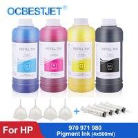 4x500ml garrafa de tinta de pigmento para hp 970xl 971xl 980 para hp officejet pro x451dn x551dw x476dn x576dw x555xh x585zdnf impressora tinta