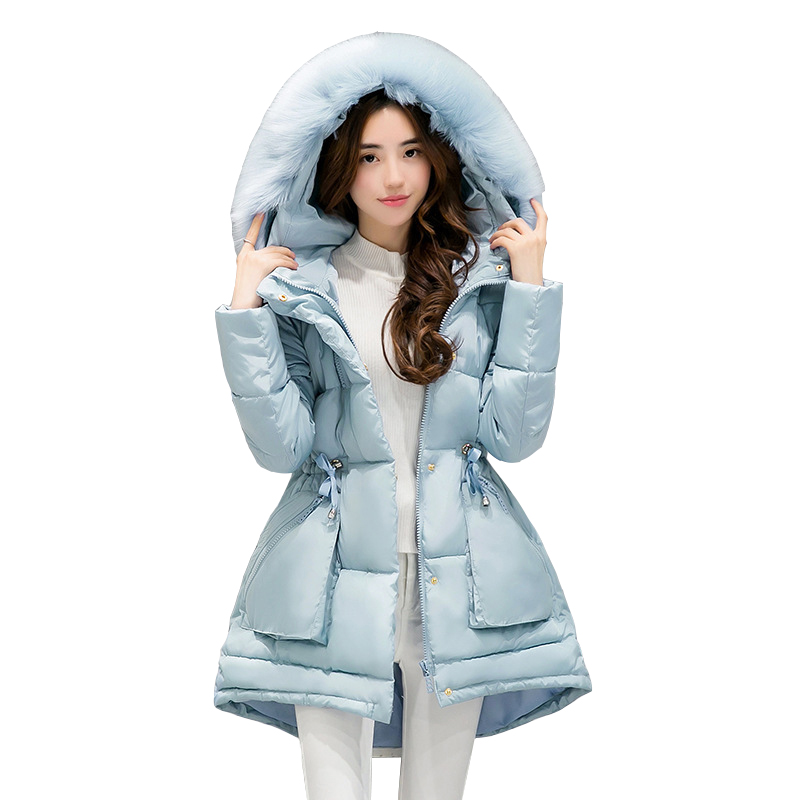 Winter Coat 2017 New Women Parkas Winter Ladies Fur Collar Thicken Winter Jacket Slim Long Staye Female Cotton Clothes CC456 2017 winter new clothes to overcome the coat of women in the long reed rabbit hair fur fur coat fox raccoon fur collar