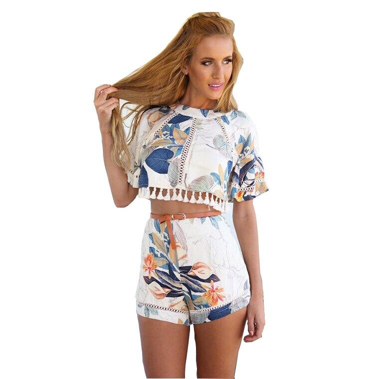 Print Dress Tassel 2 Piece Dresses Short Sleeves Crop Top -1485