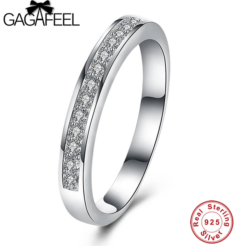 GAGAFEEL Trendy 100% Real Pure 925 Sterling Silver Rings with Shiny Crystal Party Engagement Finger Ring For Women Best Gift
