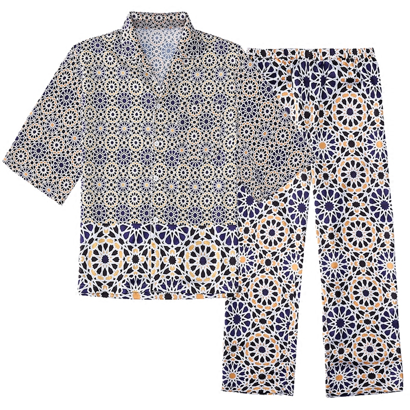 mens Luxury satin pajamas sets summer silky half sleeve turn down collar Unicorn print lounge wears loose fashion sleeping cloth
