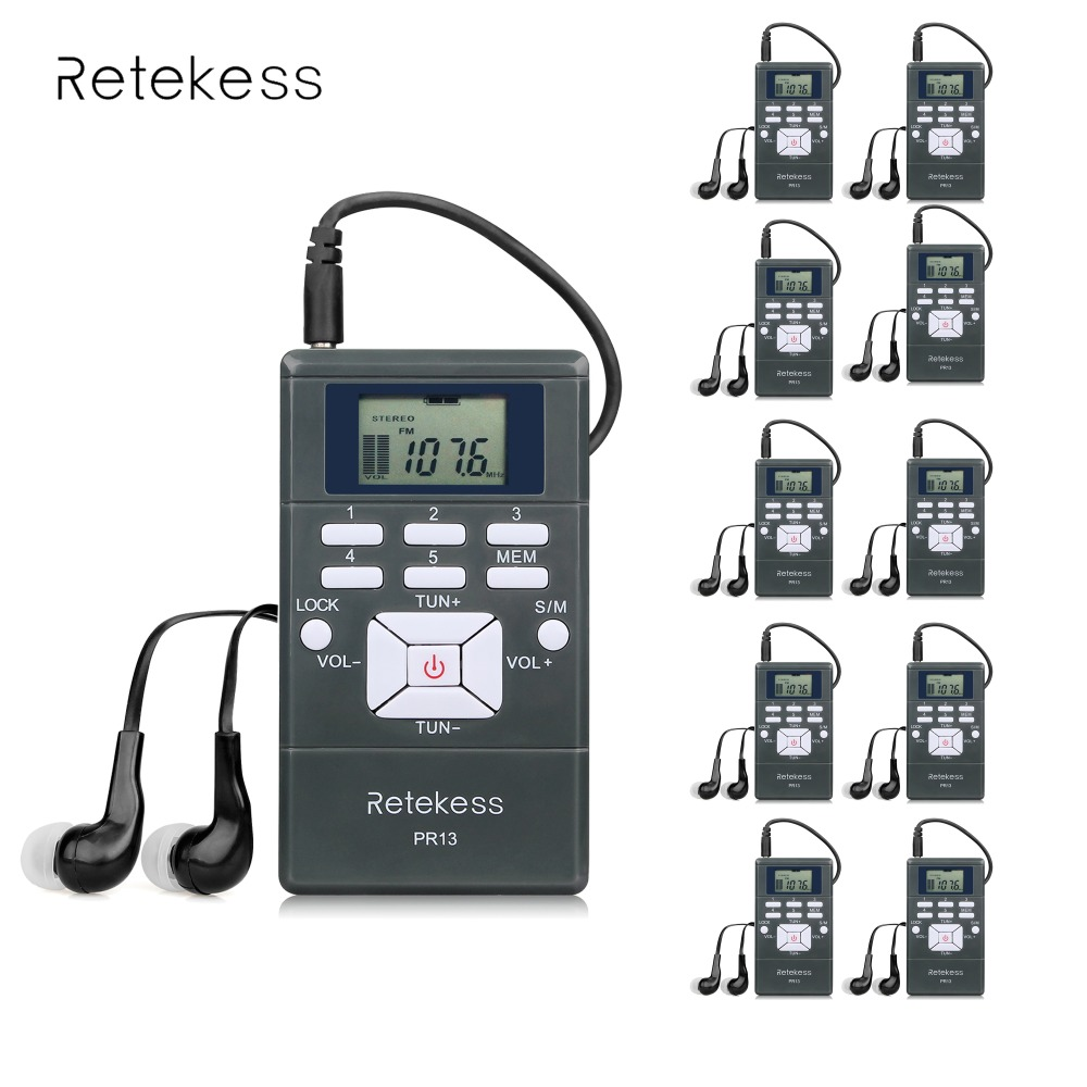 10pcs DSP Stereo FM Radio Digital Clock Receiver Mini Portable Radio Station For Meeting Simultaneous Interpretation 2 Colors 100pcs pr13 dsp portable fm radio receiver pocket radio for large meeting simultaneous interpretation with earphone f9213