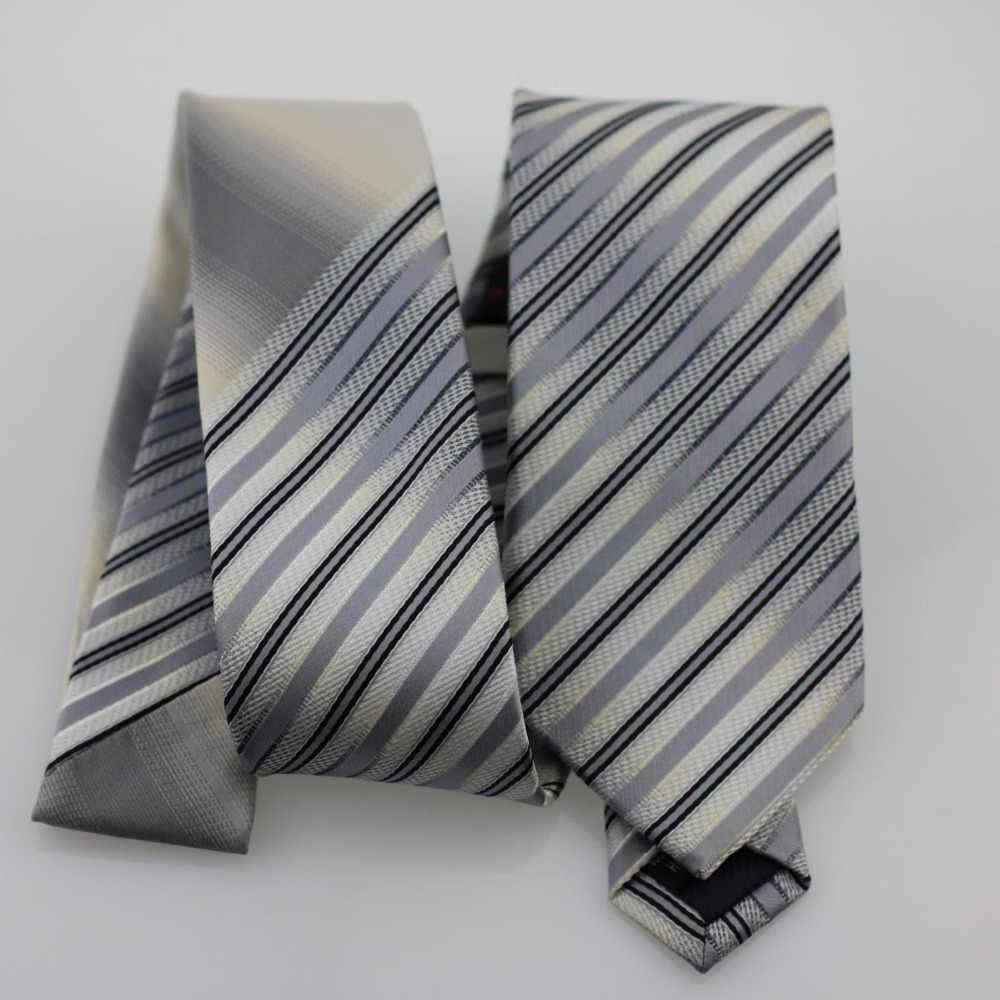 YIBEI COACHELLA ties Abu-abu Knot Kontras Abu-abu Hitam Stripes Woven Dasi Skinny Tie Bisnis Dasi Liburan Handmade Kemeja Ikatan