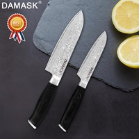 Damask Santoku Kitchen Knives Japanese Cook's 7 /5 inch Santoku Cutter Damascus VG10 Steel Blade Color Wood Handle Knife Tools