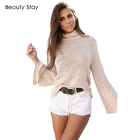 BeautyStay Bandage Back Open Lace Up Tie Knitted Blouse Women Tops Loose Sexy Ladies Pullovers Lace