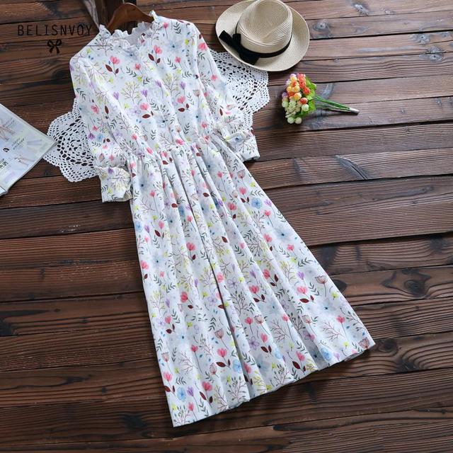 Mori menina outono inverno feminino robe babados veludo vestidos de festa manga longa lindo doce floral impresso vestidos femininos