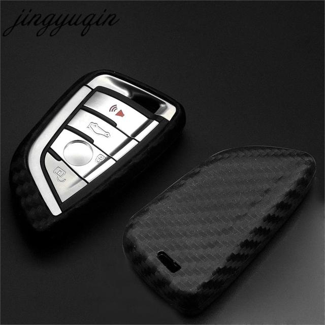 jingyuqin Carbon Silicone Car Styling Key Case for BMW X5 F15 X6 F16 G30 7 Series G11 X1 F48 F39 Keyless Cover Protector