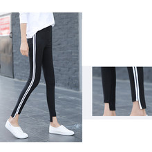 Female High Waist Pants Sexy White Strip Elastic Sweatpants Pencil Pants Sport Asymmetry Slim Hip Beam Foot Skinny Pencil Black(China)