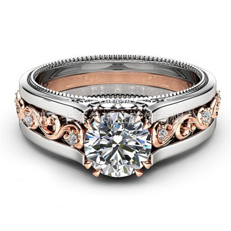 Best selling new plated  rose gold color ring white zircon ring