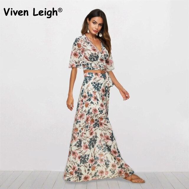 dc25b67dc796 2018 Two Piece Chiffon Dress Sexy V-Neck Split Maxi Party Dresses Elegant 2  Piece Set Summer Floral Print Women Boho Beach Dress
