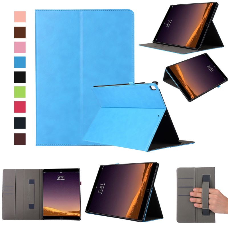 Fashion high quality Hand strap wallet ID card pu leather stand holder smart cover case for New ipad Pro 12.9 2017 cover fashion pu wallet w shoulder strap hand strap brown