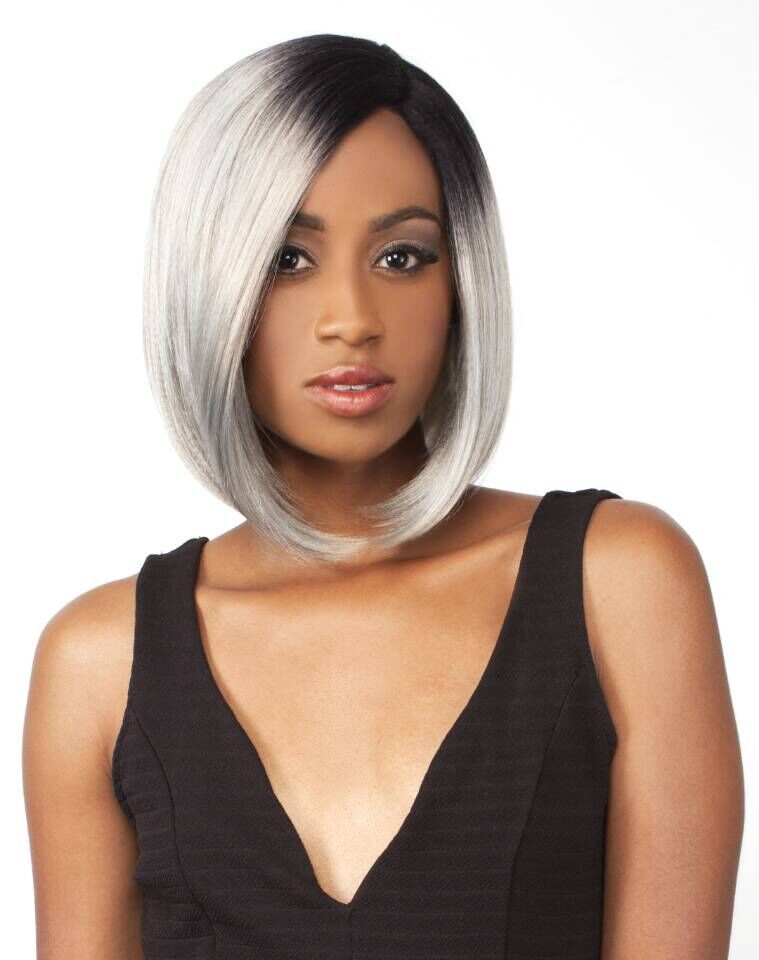 Synthetic Dark Root Ombre Black Silver Gray Lace Front Wig
