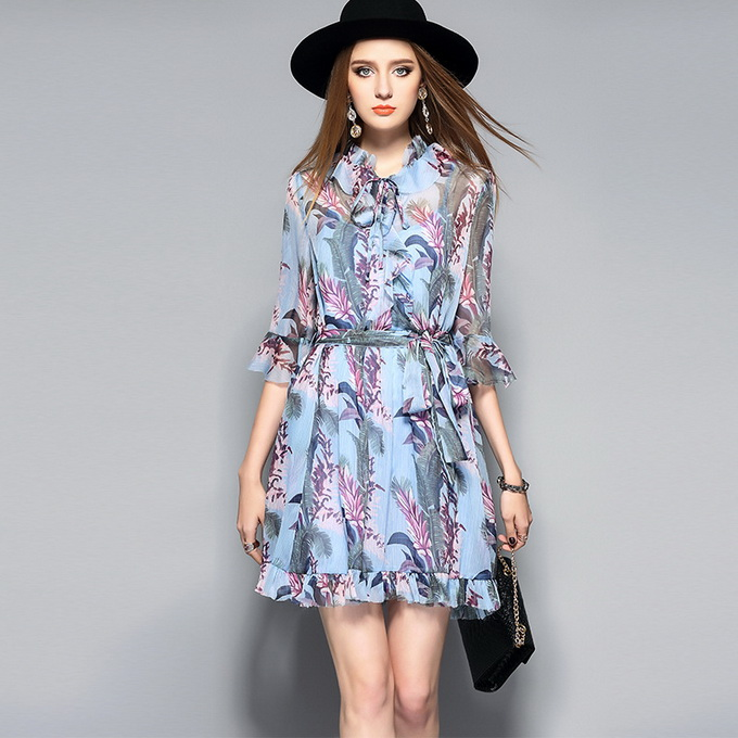 Buy Cheap Blue Print Dress New Fashion Summer 2017 Ladies Ruffled Collar Tropical Tree Print Flare Sleeve Casual Chiffon Dress Mini Club