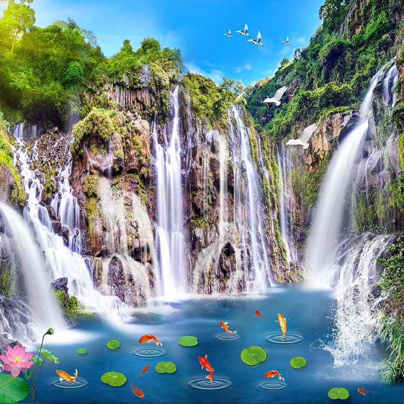 Photo Wallpaper Chinese Style Classic Hd Waterfall Pond Fish