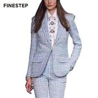 Клетчатое пальто женское 2018 зимнее женское пальто элегантное пальто светло синее на одной пуговице пальто Верхняя одежда с длинными рукава