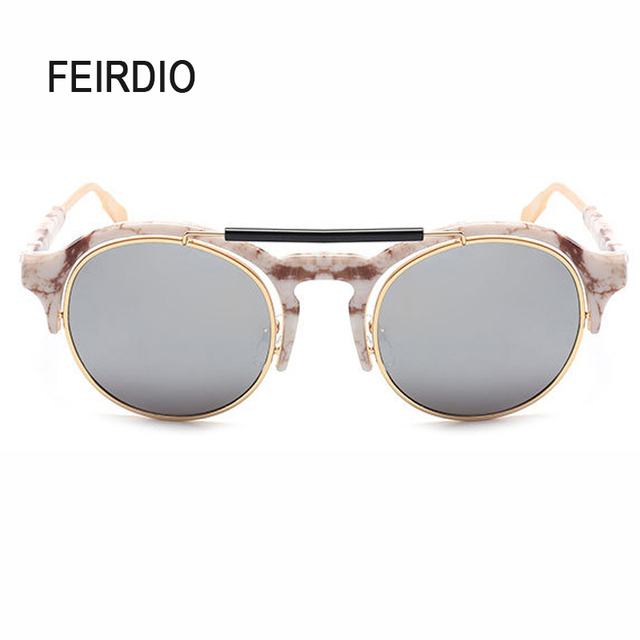 b22d85ea2605c Feirdio Wholesale For Female Male Sun Glasses Aluminum Frame Goggles Retro  Flat Top Style Gafas Sol Mirrored Anti Glare Fishing