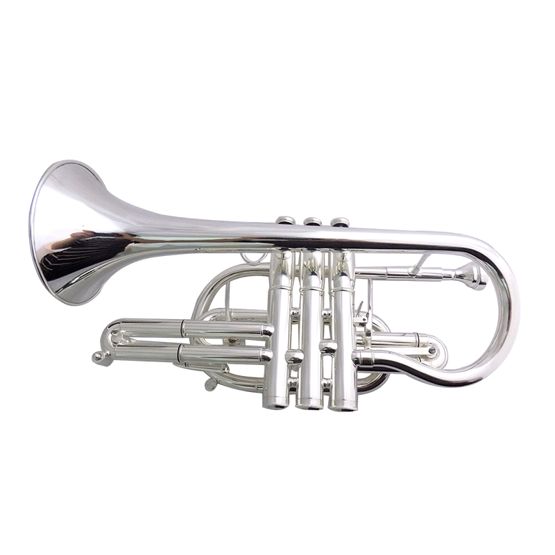Купить с кэшбэком Bb Brass Cornet Silver plated Bell 119mm with Case Musical Instruments trumpet