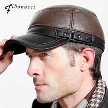 Fibonacci brand quality mens baseball cap leather patchwork autumn winter caps adjustable flatcap middle aged adult dad hats