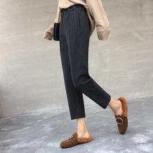 Fall and Winter Woolen Trousers Loose Casual Suit Female Pants High Waist Carrot Women Harem Pants Wide Leg Trousers grid carrot pants