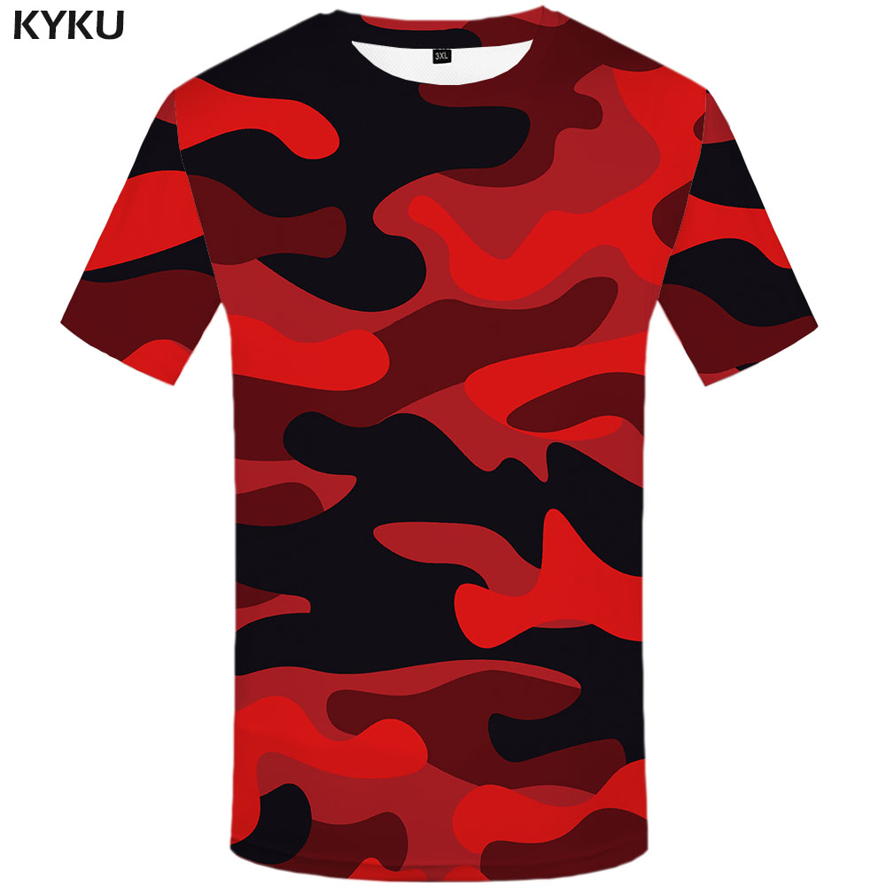3d Tshirt Red Camouflage T shirt Men Camo Anime Clothes Military Shirt Print Rock T-shirts Gothic Tshirts Casual