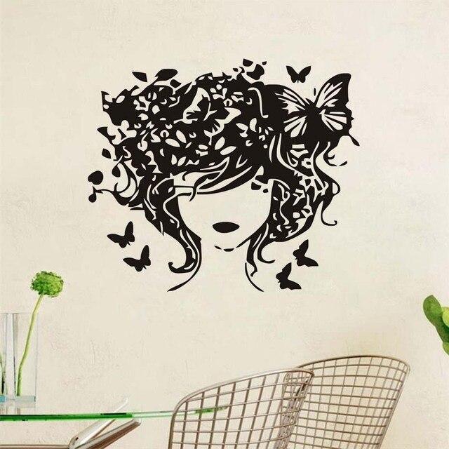 Wall Decoration Wallpaper Fashion Creative Spa Shop Salon Home Decor Butterflies Hair Lady Woman Sticker