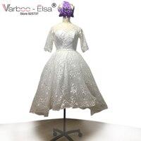 VARBOO ELSA Short Wedding Gown White Lace Beach Wedding Dress O Neck Half Sleeve Appliques Bridal