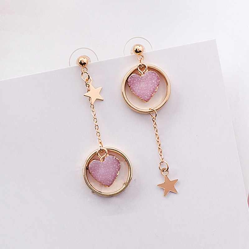 2018 Sweety Korean Colourful Stone Love Heart Earrings For Girl Alloy Circle Star Pendant Asymmetry Earings Fashion Jewelry