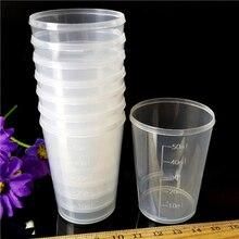 10 шт. 50 мл мерные стаканчики прозрачные пластиковые медицинские градуированные мерные стаканчики контейнер со шкалой AU