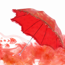 Фотография Umbrella Rain Woman Lace umbrellas Elegant Wedding Bride Folding umbrella Big red lace Parasol paraguas Gift XQSY-13