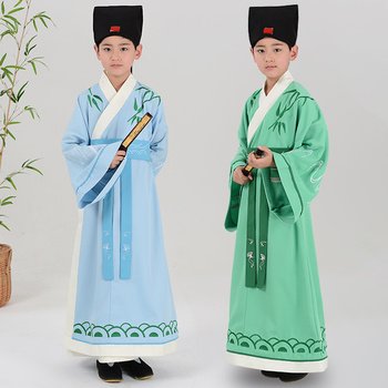 Children Printing Bamboo Chinese Robe for Boy Traditional Dance Costume Male Ancient Student Clothing Handu Clothes Tang Outfit