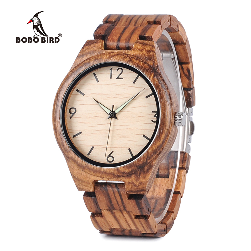 BOBO BIRD Watch Men Handmade Natural Zebra Stripes Wooden Watches Wooden Band Wristwatch relogio masculino bobo bird brand handmade wooden watch men wristwatch genuine cowhide leather band wood watches relogio masculino c g03