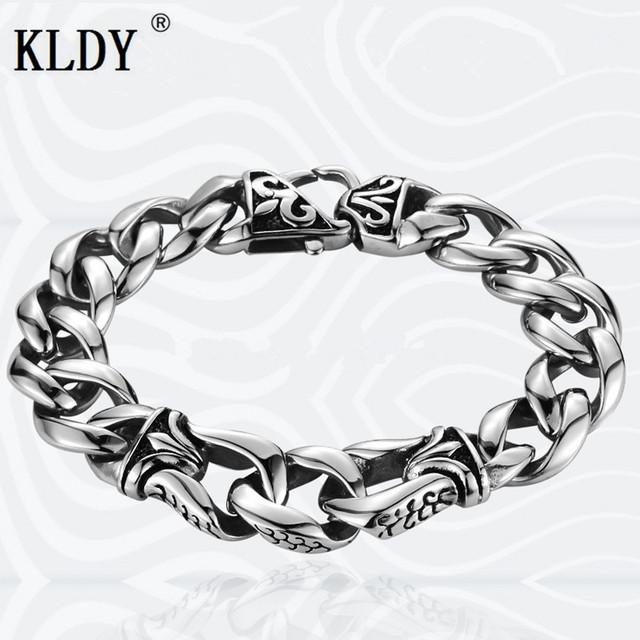 KLDY men Jewelry Biker Stainless Steel chain bracelets for man vintage steel mens bracelet corations best gift drop shipping