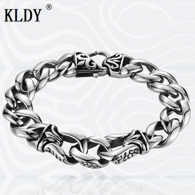 KLDY men silver Bracelet Biker women Stainless Steel chain bracelets vintage bangle male Jewelry best gift drop shipping все цены