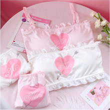 Sexy Women Pajamas Summer Cute Ruffles Lace Pajamas Lovely Heart Printed Pajamas Sets for Girls and Women Comfortable Underwear(China)