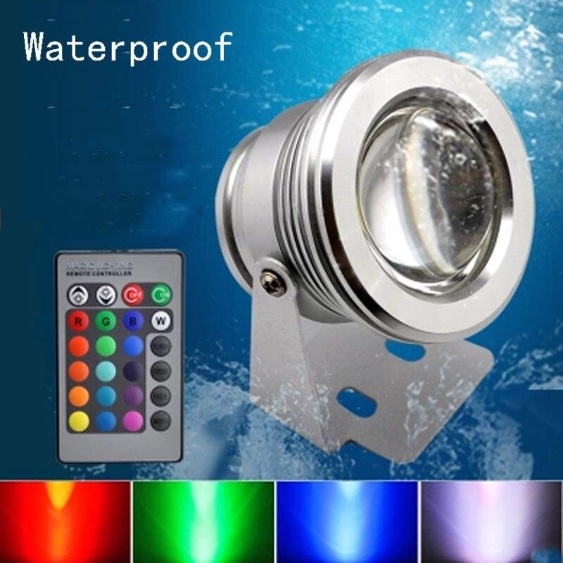 Remote Control Marine Boat Yacht Fishing Lamp Underwater Aquarium Fishing Swimming Pool Light RGB LED Floodlight