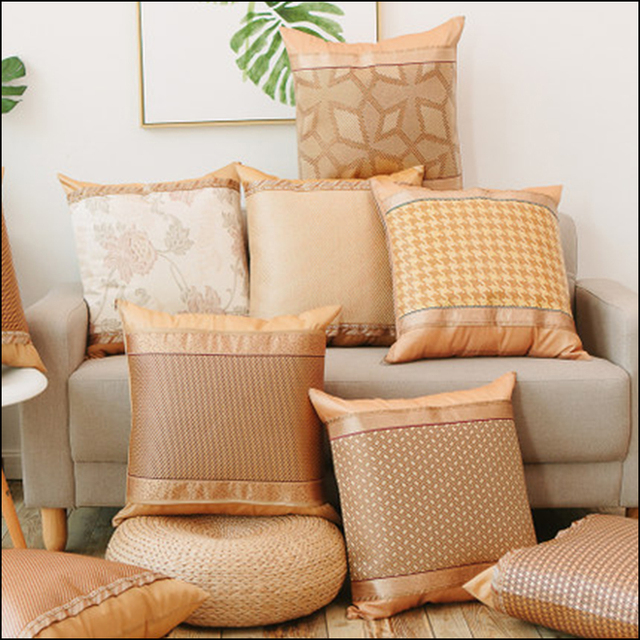2017 New Chinese Style Cushion Cover Summer Cool Rattan Bamboo Cushion  Covers Striped 10 Type Sofa