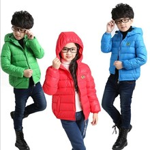 Новый осень/зима детская одежда верхняя одежда парки пуховик для мальчиков и девочек в шляпе дети одежда